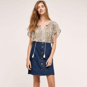 Anthropologie Pilcro Denim Button Front Skirt 6